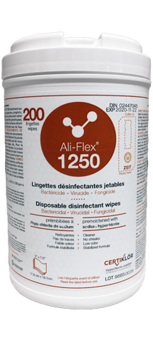 Ali-Flex 1250 Disposable Disinfecting Wipes: Disposable disinfecting wipes pre-moistened with stabilized sodium hypochlorite (1250 ppm) for use in the healthcare facilities. Ali-Flex<sup>®</sup> 1250 is a unique product with a lot of competitive advantages. Its composition makes it an easy-to-use product due to the fact that the wipes are pre-moistened. Get started today by requesting at no cost or obligation a demonstration.