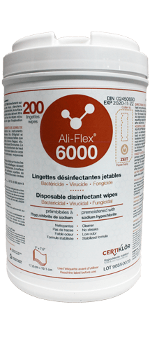 Ali-Flex 6000 Disinfecting Wipes: Disposable disinfecting wipes premoistened with stabilized sodium hypochlorite (6000 ppm) for use in the healthcare facilities. Ali-Flex<sup>®</sup> 6000 is a ready to use disinfecting wipes with high concentration making it unbeatable when facing bacteria, viruses and fungi on most hard non porous surfaces. Get started today by requesting at no cost or obligation a demonstration.