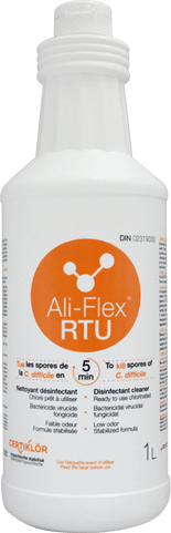 Ali-Flex RTU Ready to use Disinfectant Cleaner: Chlorinated disinfectant cleaner at 6,000 ppm of stabilized sodium hypochlorite and ready to use for use in the healthcare. Ali-Flex<sup>®</sup> RTU kills <i>C. difficile</i> spores in 5 minutes. Get started today by requesting at no cost or obligation a demonstration.